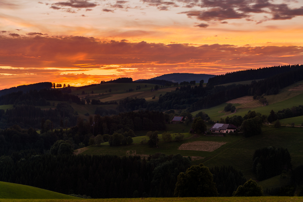 Fiery Sky and Sweeping Hills